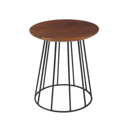 acheter table d appoint en bois et pied metal noir