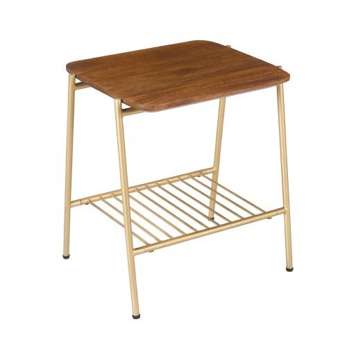acheter table d appoint en bois fonce et dore