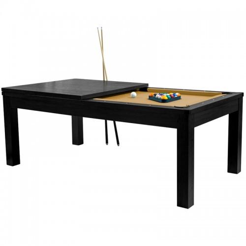 Table de Billard convertible bois foncé tapis beige