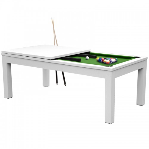 Table de Billard rectangulaire convertible blanche tapis vert