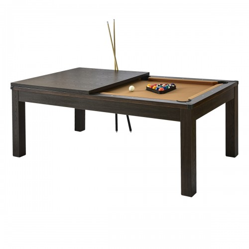 Table de Billard rectangulaire convertible bois foncé tapis beige