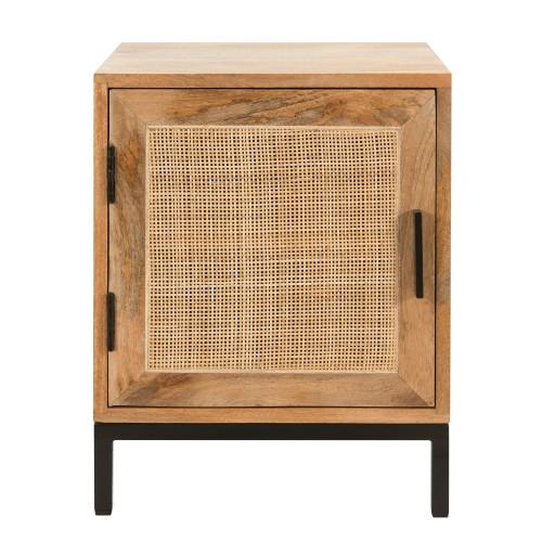acheter table de chevet en bois et cannage