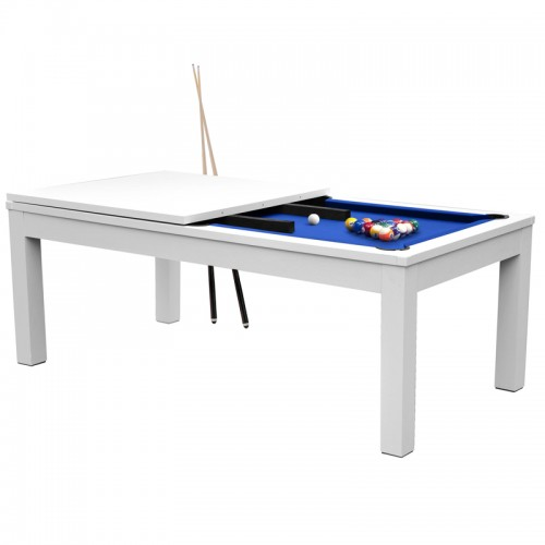 Table de Billard rectangulaire convertible blanche tapis bleu