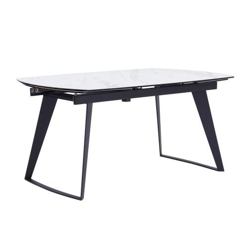 acheter table de repas extensible blanche et noire