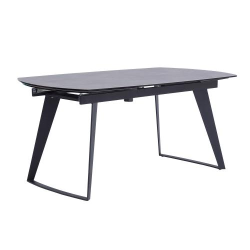acheter table de repas extensible grise pieds noirs