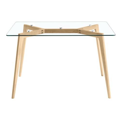 acheter table en verre pieds bois