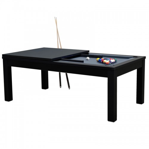 Table de Billard rectangulaire convertible noire tapis gris