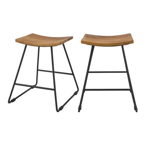 acheter tabouret assise arrondie bois lot de 2