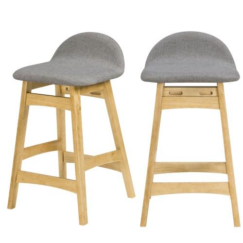 acheter tabouret de bar gris et bois clair