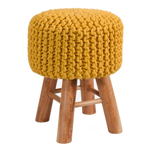 acheter tabouret en tricot jaune moutarde