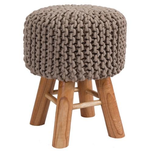 acheter tabouret en tricot taupe pieds bois