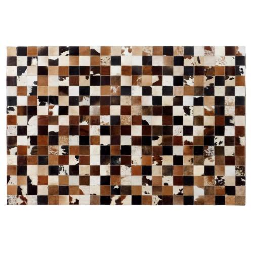 acheter tapis cuir marron mosaique