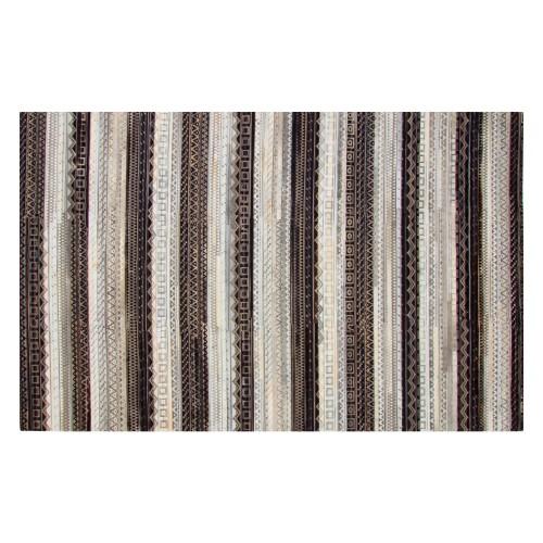 Tapis Kanpur en cuir noir blanc et gris 200x300 cm