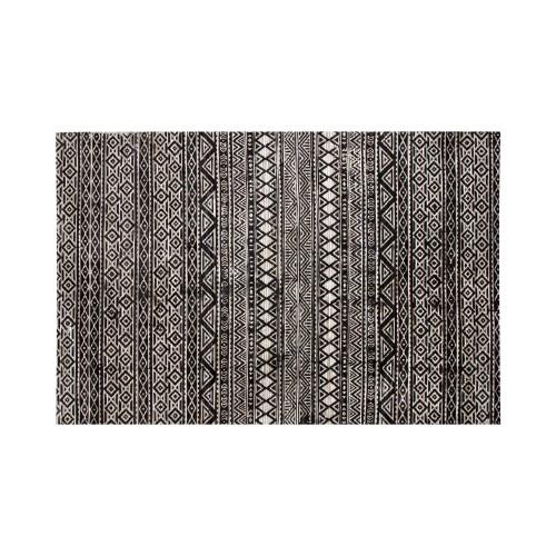 acheter tapis noir et blanc cuir ethnique