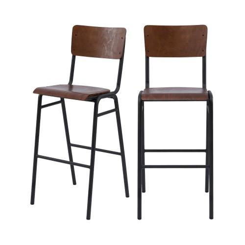 chaise de bar écolier bois vintage lot de 2
