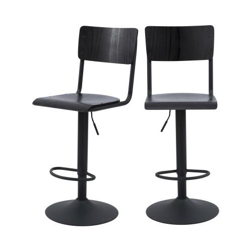 chaise de bar écolier noir bois lot de 2