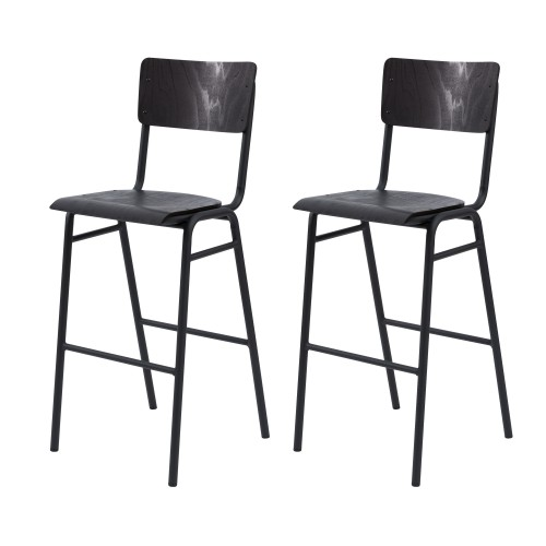 chaise-de-bar-lot-de-2-noir-vintage