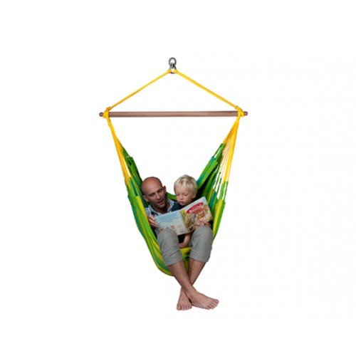 chaise hamac bois et tissu vert