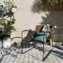 acheter fauteuil bas en bois fonce et metal