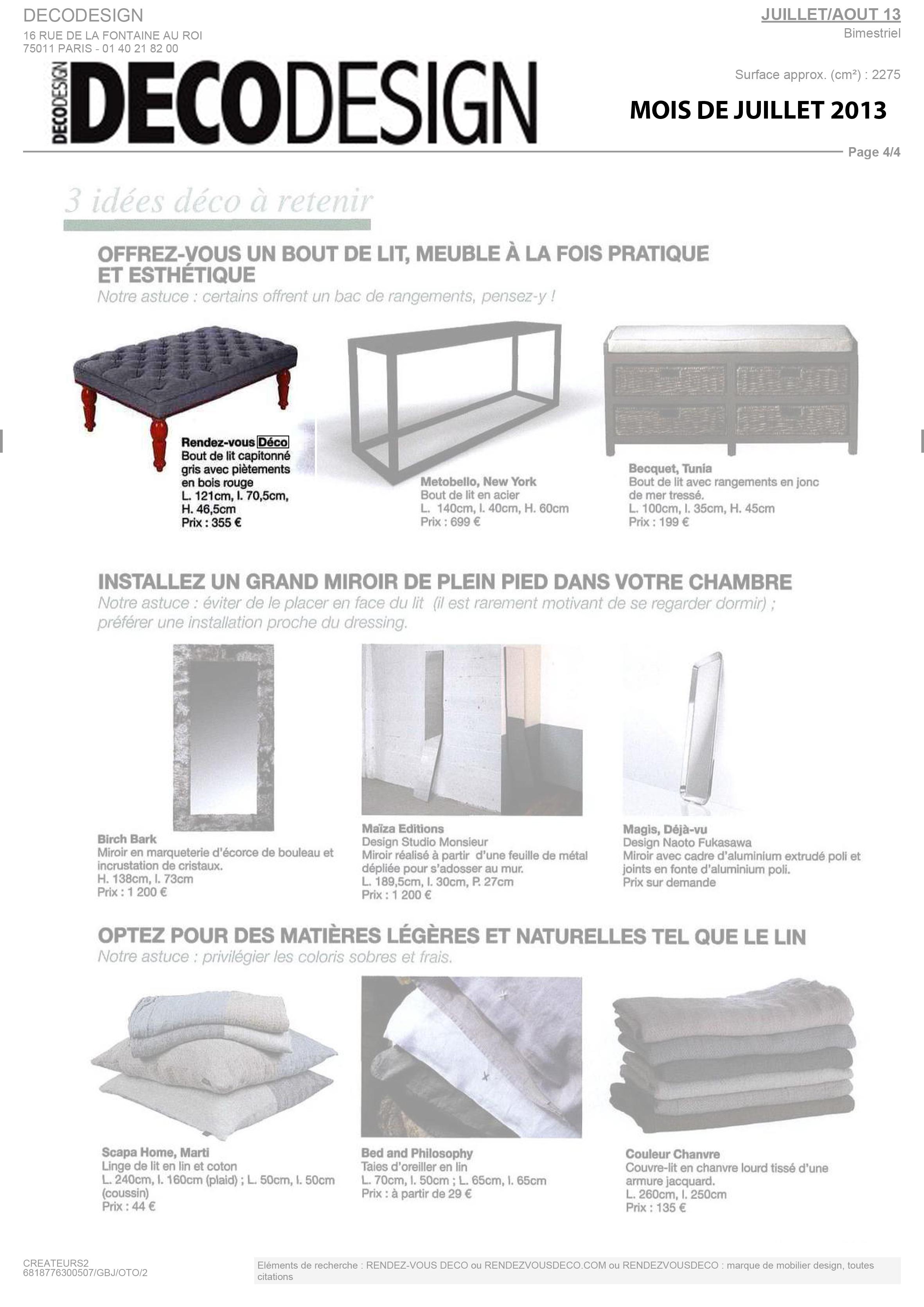Rendez vous deco mobilier design for Deco mobilier design