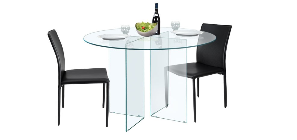 table vitrée transparente